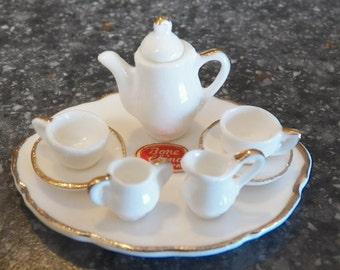 Vintage Miniature Dollhouse BONE China WHITE/GOLD Tea Set Japan New Box