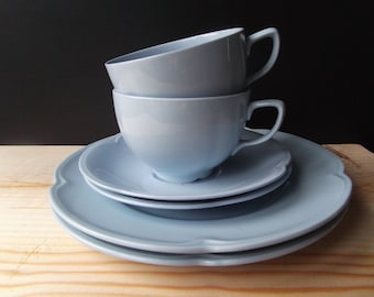 Pale blue china trios, cups saucers & plates, greydawn, sixties