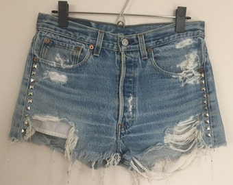 Vintage Levis 501 Jean Shorts with Studs