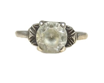Art Deco White Topaz Ring Sterling Silver 14K White Gold Filled Size 6