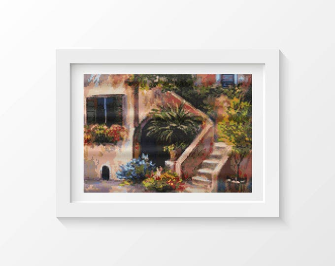 The Garden by House Cross Stitch Chart, Art Cross Stitch, Embroidery Chart (ART027)