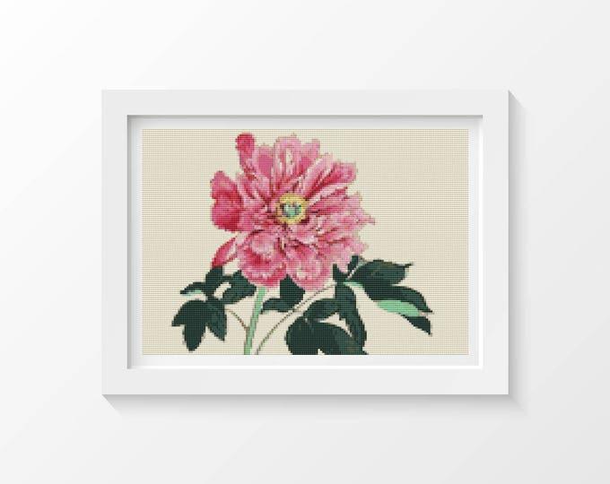 Cross Stitch Pattern PDF, Embroidery Chart, Art Cross Stitch, Floral Cross Stitch, Peonies by Tanigami Konan (KONAN02)