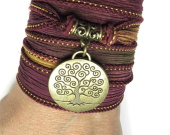 Bohemian Tree Of Life Silk Wrap Bracelet  Yoga Jewelry Yoga Necklace Spiritual Jewelry Earthy Fall Wrist Band Unique Christmas Gift For Her