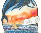 BRIEFKAART van originele tekening / kunst met ZEEMEERMIN, zonsondergang, heldere kleuren en papier boot. Fantasierijke dromerige Oceaan / Zee scène.