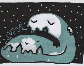 BRIEFKAART van originele tekening / kunst. Dromerige vreedzame ontwerp van de nachtelijke hemel, volle maan gezicht kijken over de hele wereld.