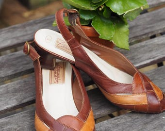 Two-tone brown leather slingbacks vintage heels summer sandals 70s 80s size 5 UK size 6.5 US