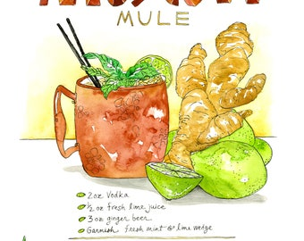 Moscow Mule Cocktail Illustrated Recipe Kitchen Art Print Craft Cocktail