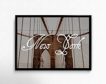 New York City Print Large Wall Art Fine Art Photography Brooklyn Bridge Calligraphy Classy Big Apple NYC Wall Decor Travel Large Poster