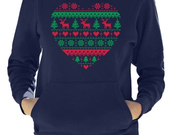 Heart Shaped Ugly Christmas Sweater Women's Hoodie