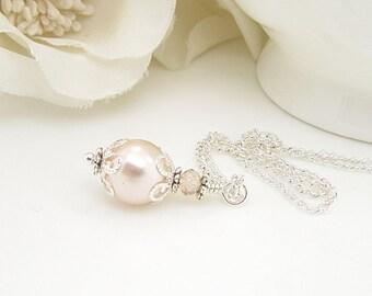 Blush Wedding Sets, Blush Bridesmaid Necklace, Pearl Wedding Jewellery, Pale Pink Wedding, Bridal Party Gifts, Blush Wedding