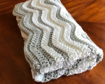 Chevron Baby Blanket, Ripple Blanket, Grey, White, Crochet Baby Afghan, MADE TO ORDER, Any color