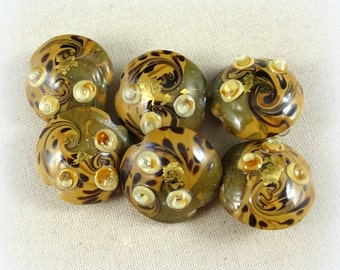 Lampwork Beads - Olive Green, Light Brown/Tan and Yellow Art Deco - Olive Green Lamp Work Lentil Beads - 18mm -  Qty 2