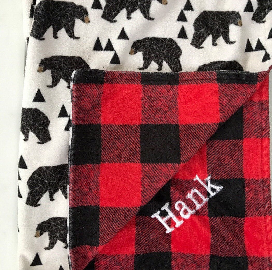 Embroidered Buffalo Check Bear Lumberjack Red Black Plaid
