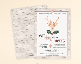 Eat, Drink Be Merry Christmas Invite, Christmas Party Invitation, Holiday Open House, Winter Buck, Open House, Holiday Party, C13005