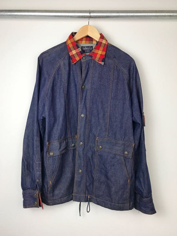 Vintage Men's Denim and Plaid Workman's Jacket