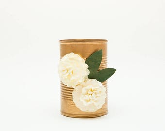 Magnetic Pen // Pencil // Whiteboard Marker Holder- Metallic Gold with Two Cream Flowers - Makeup Brush Holder - Gold Office Decor