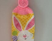 Easter Kitchen Towel - Crochet Top - Easter Bunny - Bunny Rabbit Towel - Hanging Towel - Handmade Crochet - Ready to Ship