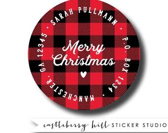 Buffalo plaid address labels, buffalo check address labels, plaid labels christmas plaid sticker lumberjack address label lumberjack sticker