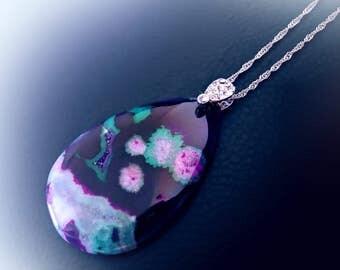 Druzy crystal necklace, purple agate necklace, natural crystal necklace, boho necklace, drop necklace, raw gemstone, statement necklace,OOAK