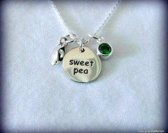 Sweet pea tag and a pea in the pod, sterling silver mothers necklace, Mothers day, expectant mothers necklace