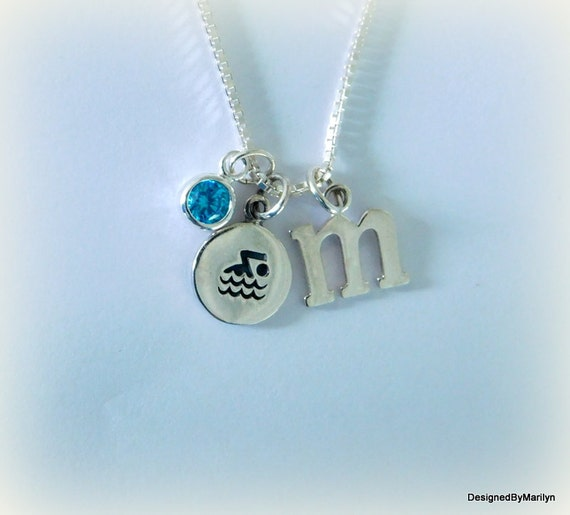 Sterling silver swimmer disc necklace, athletic jewelry, swimmers in training, ocean swimmer jewelry