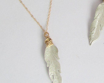 Silver Feather Necklace - Boho Feather Necklace -Silver and Gold Necklace - Feather Necklace - Mixed Metal Feather - Free Shipping