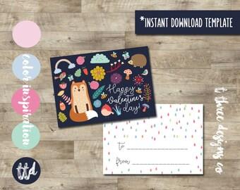 Whimsical Fox Valentines INSTANT DOWNLOAD, Printable Valentine Cards, kids valentines, child valentines cards, woodland valentine, girl