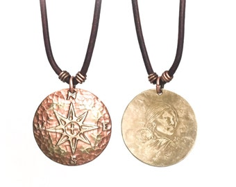Compass Rose Necklace. Etched Coin. Compass Charm. Compass Necklace. Traveler necklace. Sacagawea necklace. Gypsy necklace. Indigenous charm