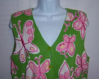 Vintage Northern Isles Grass Green Pink Embroidered Butterflies Sleeveless Sweater Vest Medium Butterfly
