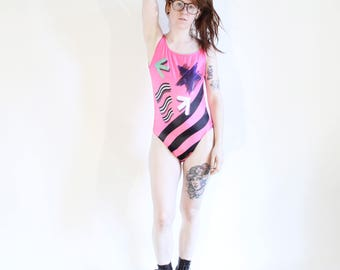 Vintage 90s Swimsuit Bright Pink 80s Bathingsuit One Piece Bathing Suit Workout Bodysuit Bright Pattern Dance Leotard Vintage 90s 80s