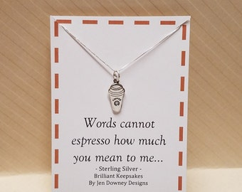 Coffee Pun Gift Espresso Necklace Sterling Silver Latte Jewelry