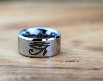 Free Engraving Top Quality Tungsten Carbide Band, 12mm High Polish Beveled Eye of Horus Ring Design