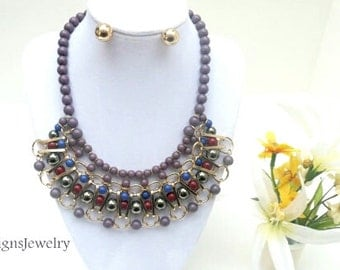 Grey Multi color Tribal Beaded Bib Statement Necklace