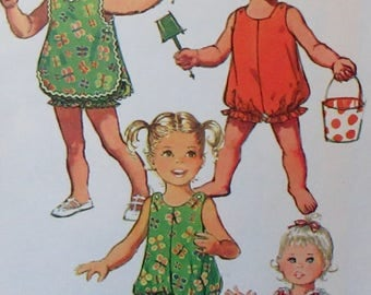 Vintage 1971  Simplicity Sewing Pattern Toddler Girls Bubblesuit   And  Pinafore  Pattern #9395   Size 2