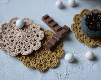 Doily Mug Rug - Set of 2 - Crochet Mug Rugs - Rustic Coasters - Coffee Mug Rug - Desk Accessory - Crocheted Coaster - Moderm Farmhouse