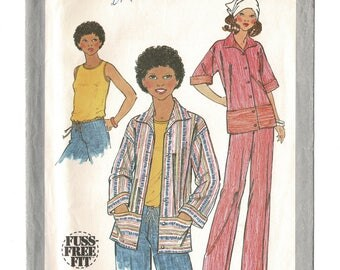 Easy sleeveless top, jacket & pants pattern, womens sewing pattern, Simplicity 8404 vintage 1970s retro summer clothes pattern