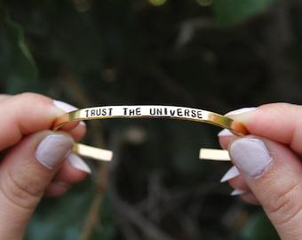 Trust the universe. Thin Cuff Bracelet. Yoga Jewelry. Yoga bracelet. Child of the Universe.