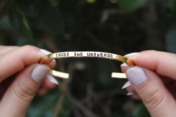 Trust the universe. Thin Cuff Bracelet. Yoga Jewelry. Yoga bracelet. Child of the Universe.