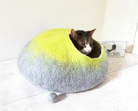 Large Cat Bed Cat Cave Cat House Igloo Natural Grey and Lime larger size