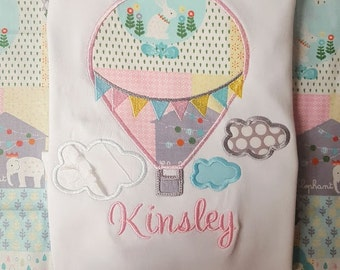 Hot Air Balloon Clouds Pinnet Flags  Design Applique File for Embroidery Machine Monogram Instant Download Spring Girl Cute