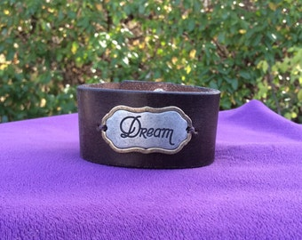 """Brown Leather Cuff with a """"Dream"""" Plate"""