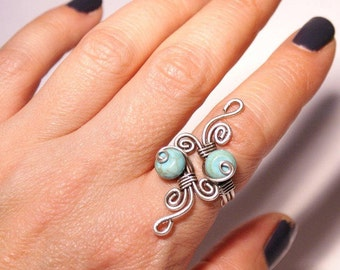 Turquoise ring, december birthstone ring, wire wrapped blue turquoise ring, adjustable ring silver turquoise ring,