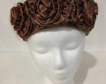 Vintage 1960s Mocha Satin Roses on Mocha Velvet Veiled Pillbox Hat