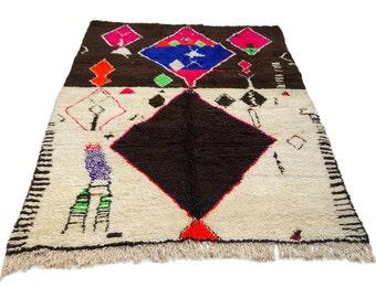 10'X7' ft / Handmade Moroccan rug Beni Ourain 100  Percent Wool / Azilal Rug / Boucherouite Rug / Beni Ouarain / Moroccan Kilim