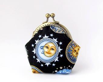 Galaxy purse, Black coin purse, Yellow Sun pouch, Blue Moon purse
