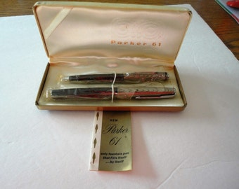 Parker 61 Vintage 1950's Fountail Pen Pencil Set Refills Itself...By Itself Collectible Mid-Century