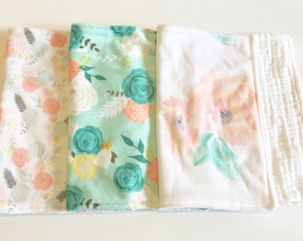 Florals burp cloth set - peach blush pink mint green flowers rose peony - minky gauze - burp rag spit up - girl baby shower gift set