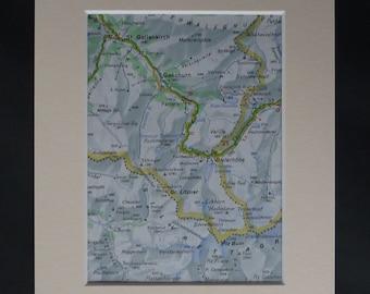 Map of Gaschurn, Winter Sports Decor, Available Framed, Swiss Art, Skiing Picture, Gross Litzner Print, Ski Gift, Silvretta Alps Wall Art