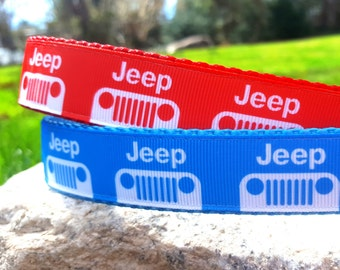 Car Logo Red or Blue 1 Inch Width Dog Collar