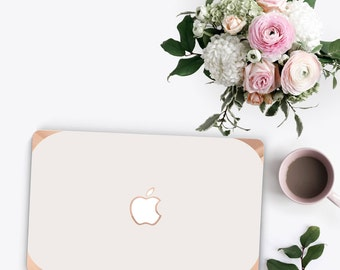 Platinum Edition Cream with w/Rose Gold Edge Hybrid Hard Case for Apple Mac Air & Mac Retina , New Macbook 2016